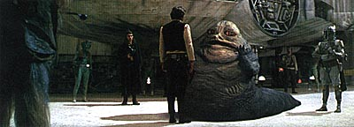 Han Solo (Harrison Ford), Jabba, and Boba Fett