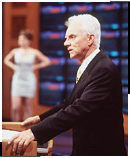 Malcolm McDowell in the pilot episode's Jeopardy mock-up