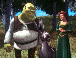 Shrek, Donkey, and Princess Fiona