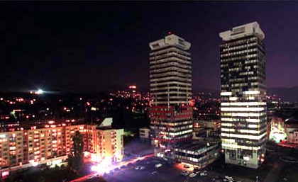 Sarajevo at night in 1999, 3 years after the end of the Bosnian War